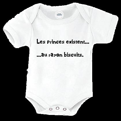 """Body bébé humoristique pas cher marqué : """"Les princes existent.. au rayon biscuits"""""""