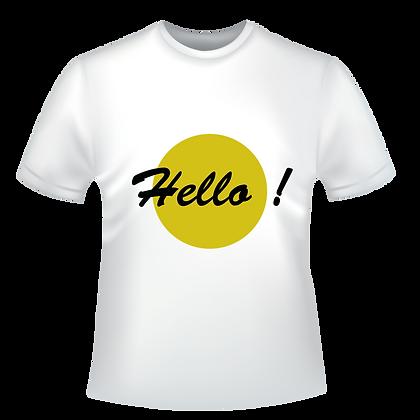 """Textiles aux choix marqués : """"Hello !"""" à partir de 9,99€, t-shirts, polos, chemise, avec des encres éco-solvants à Bordeaux"""