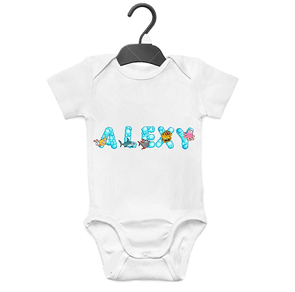 Body bebe Prénom personnalisable Alphabet Bulles et Animaux