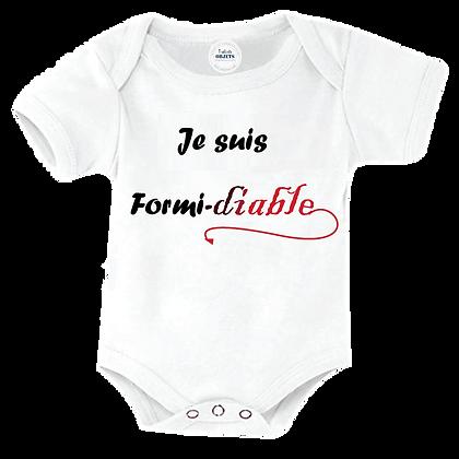 """Body bébé ou bavoir imprimé : """"Je suis Formi-diable"""" pas cher"""