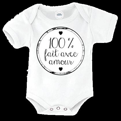 """Body bebe marqué humour : """"100% fait avec amour"""""""