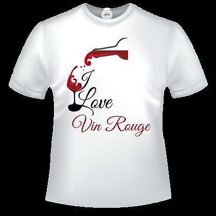 """T-shirt avec """"I love Vin Rouge"""" à 11,99€  et le 3ème offert"""