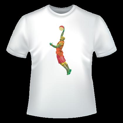 Textile pas cher a vendre deja imprime avec un dessin de basketteur en multicolor