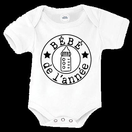 Body bebe et bavoir imprimé Bébé de l'année
