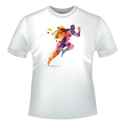 vetement imprime dessin sportif homme running multicolor watercolor
