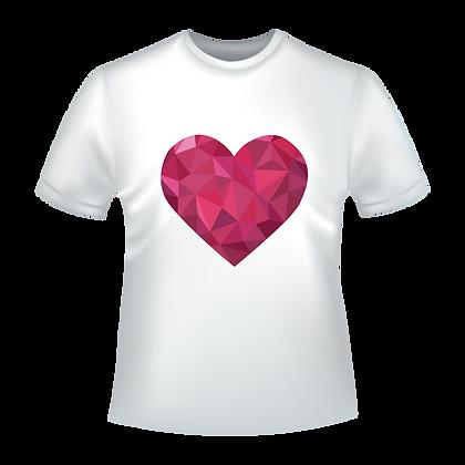 Pas cher textile / vêtement marqué avec humour ou pas :Dessin d'un cœur style diamant rose