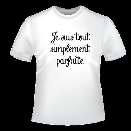 """Textiles aux choix marqués à partir de 9,99€, t-shirts,polos, chemise, imprimés avec """"Je suis tout simplement parfait(e)"""""""