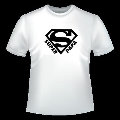 """T-shirt imprimé pas cher : """"S comme Super Papa"""" avec le logo S de superman"""