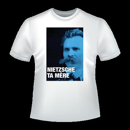 """Textile imprimé avec des dessins humoristiques : """"Nietzsche ta mère"""""""