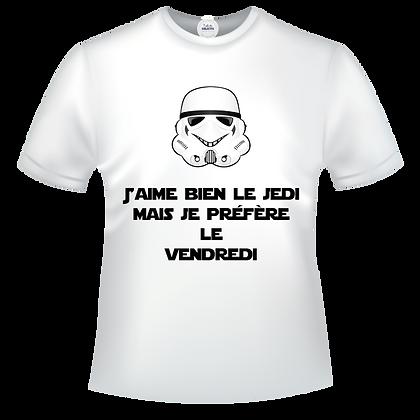 J'aime bien le Jedi mais je préfère le vendredi tshirt cadeau orinigaux