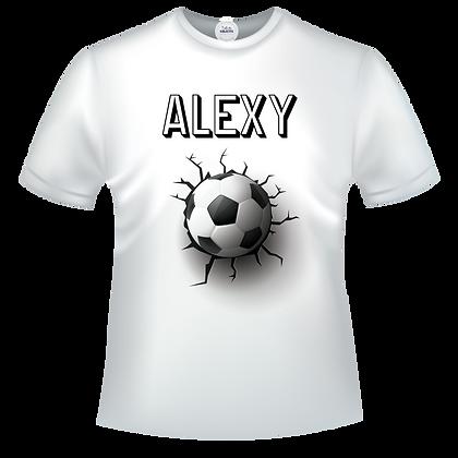 Tee shirt avec ballon de foot fissures et texte personnalisé prenom