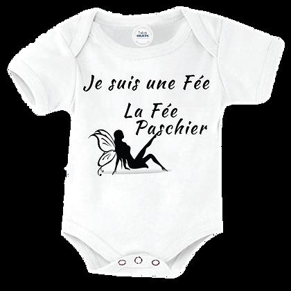 """Body bébé, bavoir imprimé : """"Je suis une Fée  La Fée Paschier"""" pas cher"""
