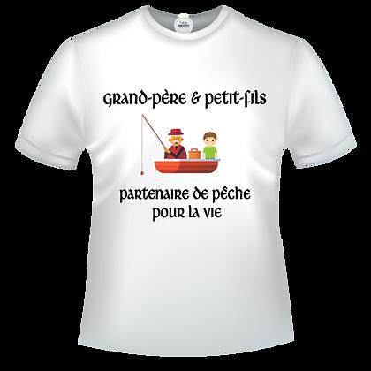 Tshirt marqué avec texte et images : Grand-père & Petit-fils - Partenaire de pêche pour la vie