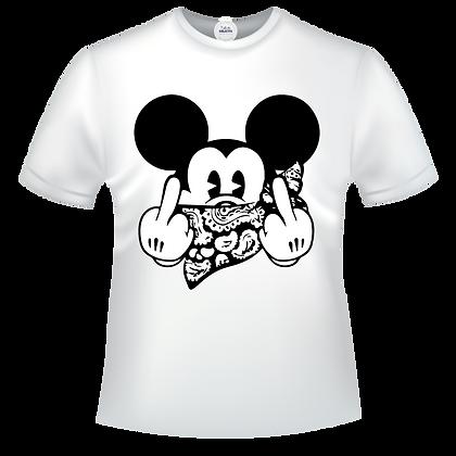 T-shirt marqué illustration pas cher Masque Mickey fuck