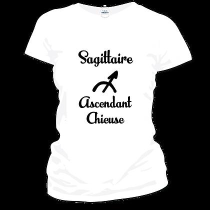 """T-shirt ou autres textiles imprimé : """"Sagittaire ascendant chieuse"""""""