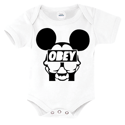 Body bébé manches courtes ou body manches longues marqué Mickey cache-cache OBEY