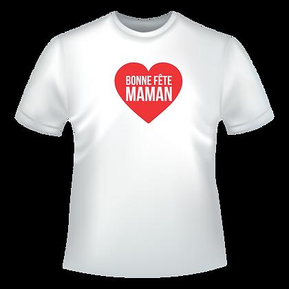 """Tshirt ou textile diverses deja personnalise avec un coeur rouge et marqué """"Bonne fete maman"""""""