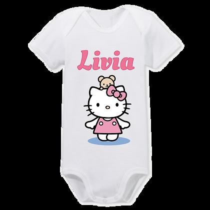 body bebe imprimé Hello kitty avec texte personnalisé comme un prénom ou ce que vous voulez
