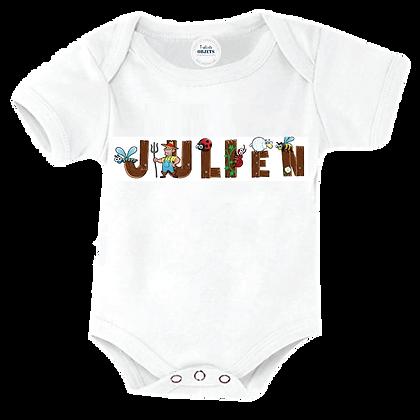 Body bébé personnalisé avec un Prénom ou avec le texte que vous voulezenalphabet : Bois et Animaux