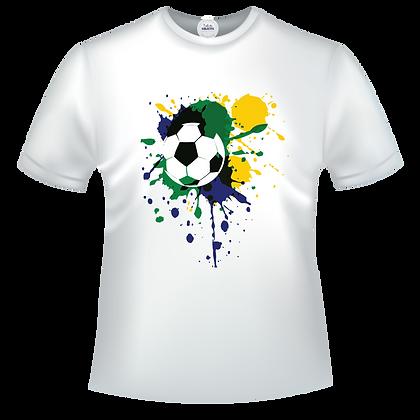 T shirt avec image d'un ballon de foot avec taches vert et jaune - version 1