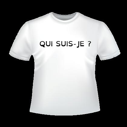 """Textiles aux choix marqués à partir de 9,99€ imprimés avec """"Qui suis-je?"""" avec des encres éco-solvants à Bordeaux"""
