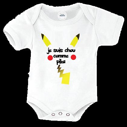 Body bébé, vetement enfant marqué : Je suis chou comme pikachou