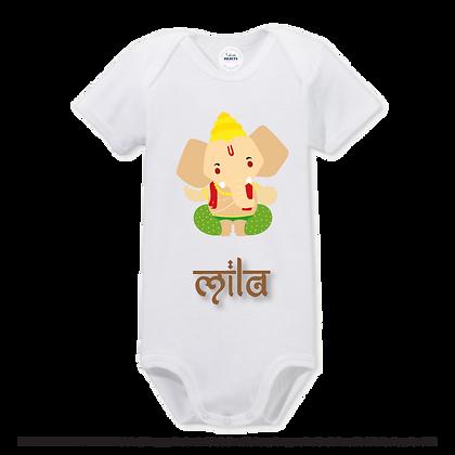 """Textile / Vêtement marqué avec humour ou pas :""""Ganesh dessin encouleur avec le""""Prénom de votre choix"""" en typographie indo"""