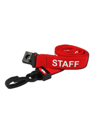 Printed 'Staff' 15mm Red Lanyard with Plastic J-Clip (100)
