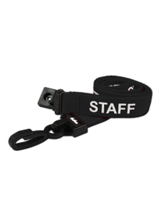 Printed 'Staff' 15mm Black Lanyard with Plastic J-Clip (100)