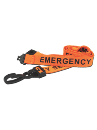 Printed 'Emergency Services' 15mm Orange Lanyard with Plastic J-Clip (100)