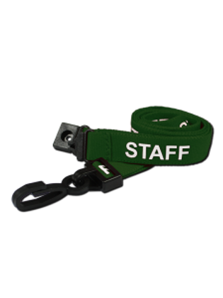 Printed 'Staff' 15mm Green Lanyard with Plastic J-Clip (100)