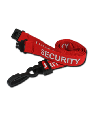 Printed 'Security' 15mm Red Lanyard with Plastic J-Clip (100)