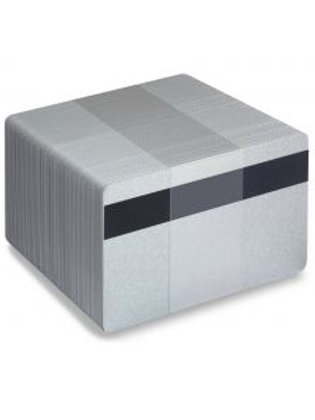 Blank Silver Metallic PVC Cards with Mag Stripe - Pack of 100 (SMAGMETALCPVC760)