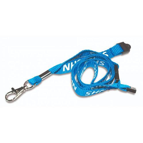 Printed 'NHS' 15mm Blue Lanyard with Metal Trigger Clip (100)