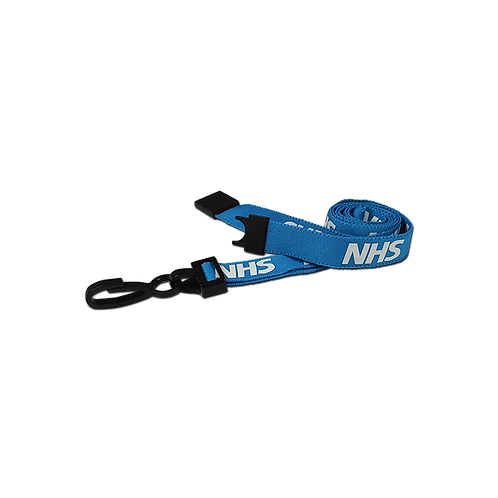 Printed 'NHS' 15mm Blue Lanyard with Plastic J-Clip (100)