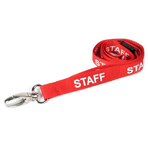 Printed 'Staff' 15mm Red Lanyard with Metal Lobster Clip (100)
