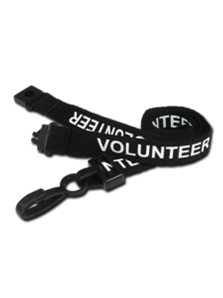Printed 'Volunteer' 15mm Black Lanyard with Plastic J-Clip (100)