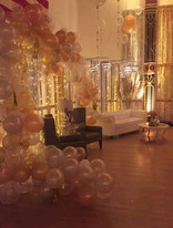Balloon Garland & Leather Couch