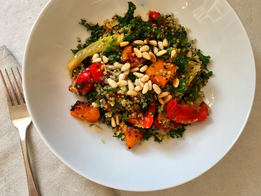 Massaged Kale Salad with Quinoa and Roasted Vegetables