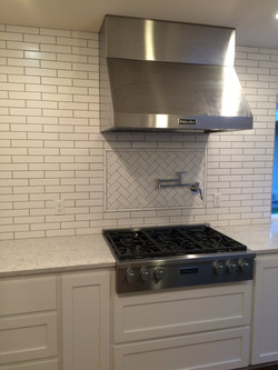 Stove with tile backsplash