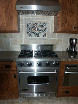 Stove with tile work