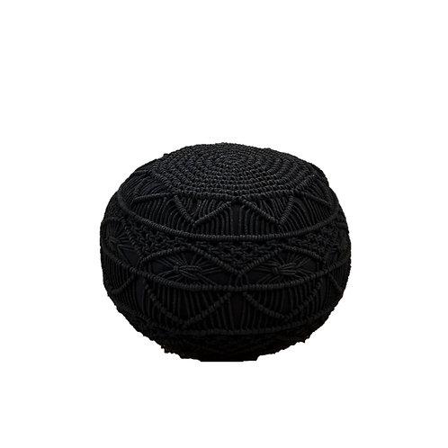 פוף סרוג מקרמה שחור