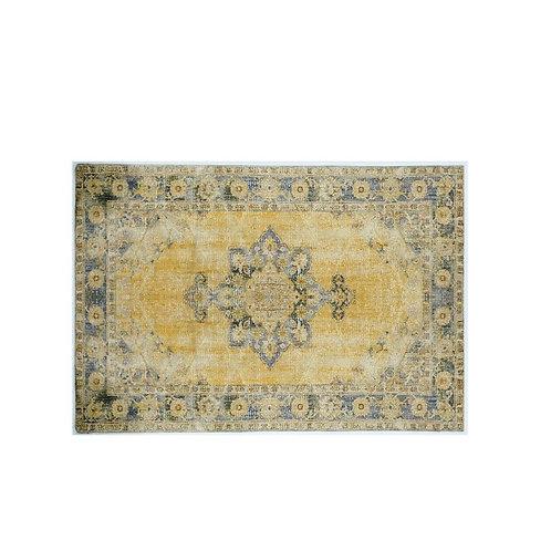 שטיח קלאסי לעיצוב הבית דוגמא מנדלה צהוב