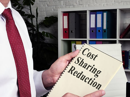 """Image of a man holding a binder of papers, the front of which reads in bold letters """"Cost Sharing Reductions."""""""