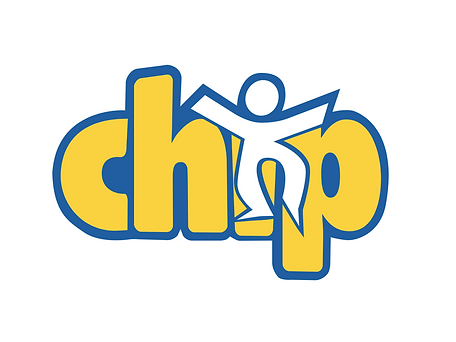 Yellow CHIP logo with blue outline and a cartoon child jumping in the center.