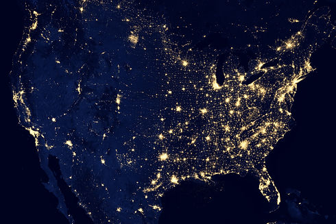 Aerial image of United States at night