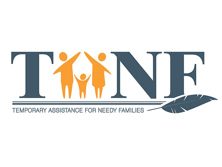 """Image of blue TANF logo with a cartoon family with their arms up, forming the letter """"A"""" in the logo."""