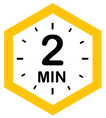 """Image of a """"2 minute"""" clock inside of a honeycomb icon."""
