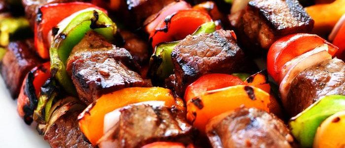 Hanger Steak Kabobs & Corn Hash