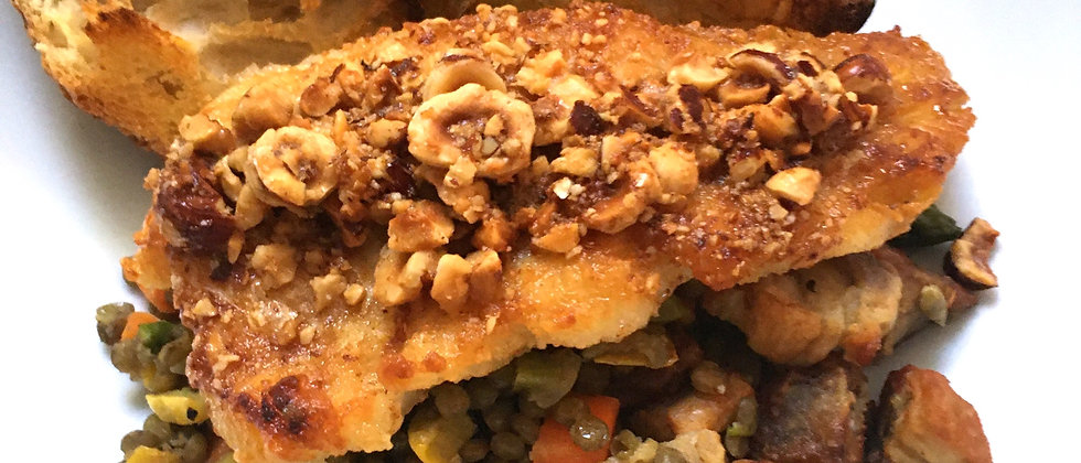 Roasted Fish with French Lentils